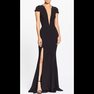 Dress the population Leah illusion plunging gown